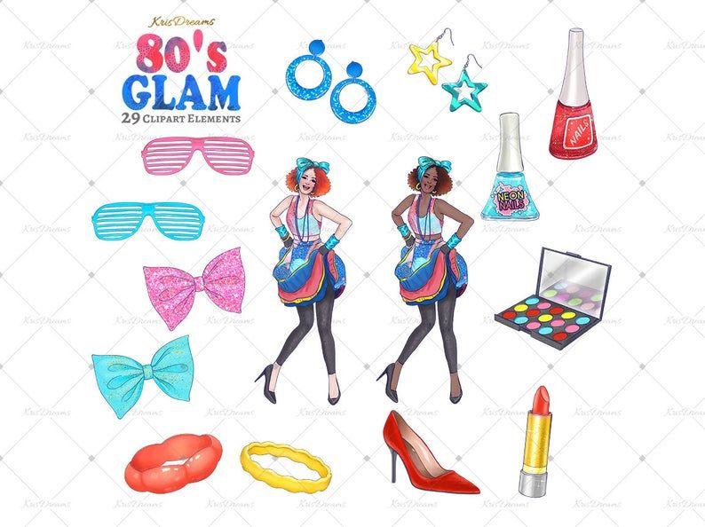 80s Fashion Clip Art Digital Clip Art Makeup Stilleto.