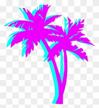 Palmtree Palm Night Japan Tumblr Aesthetic 80\'s Blue.