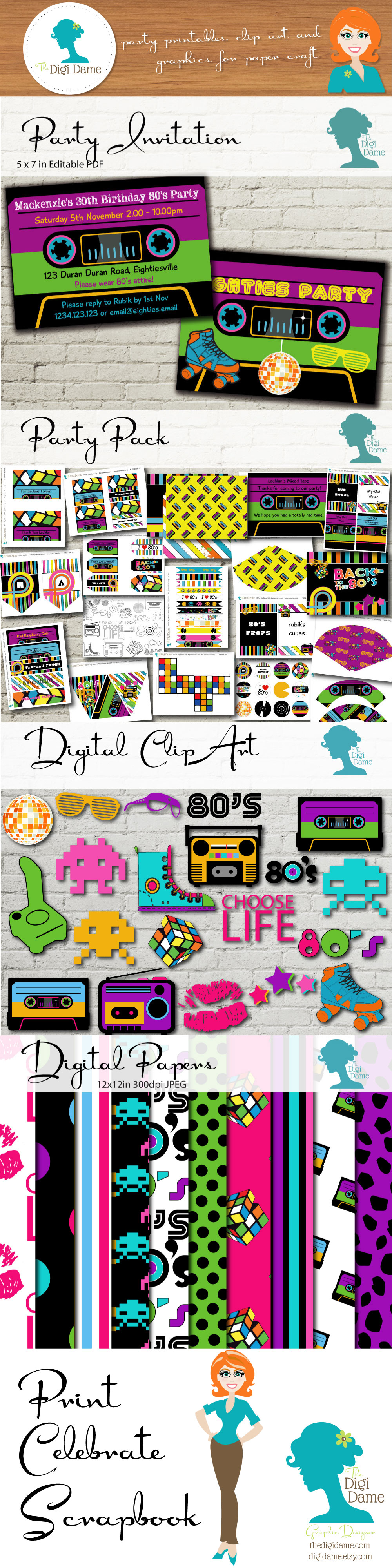 80\'s Party! Print your Party, Celebrate it, then Scrapbook.