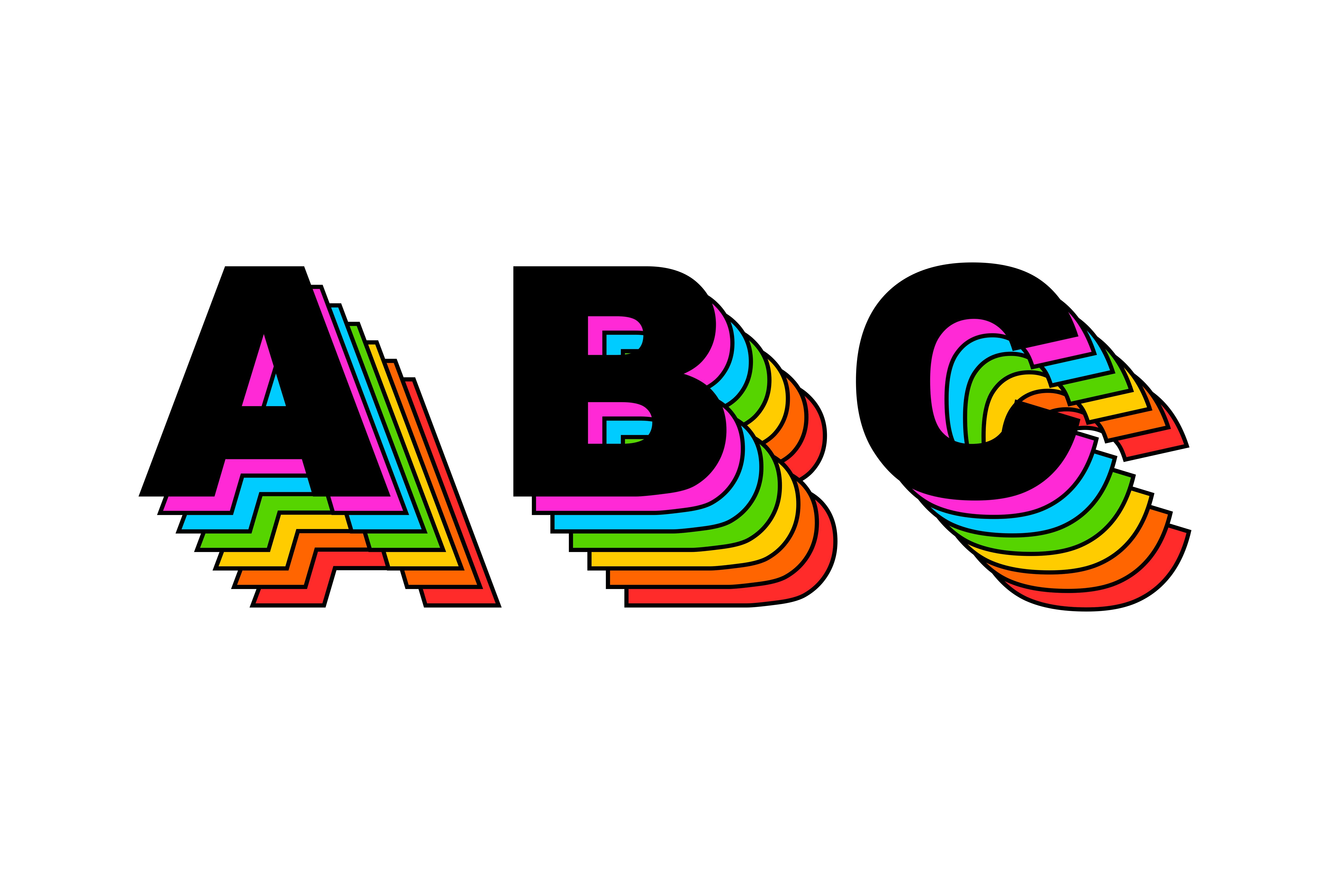 Retro 80's Rainbow Alphabet Vector (PNG Transparent, SVG).