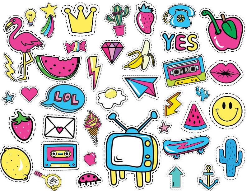 41x cute stickers 80s PNG Clipart party digital file Invitation Retro 80's  90's, Instant Download.