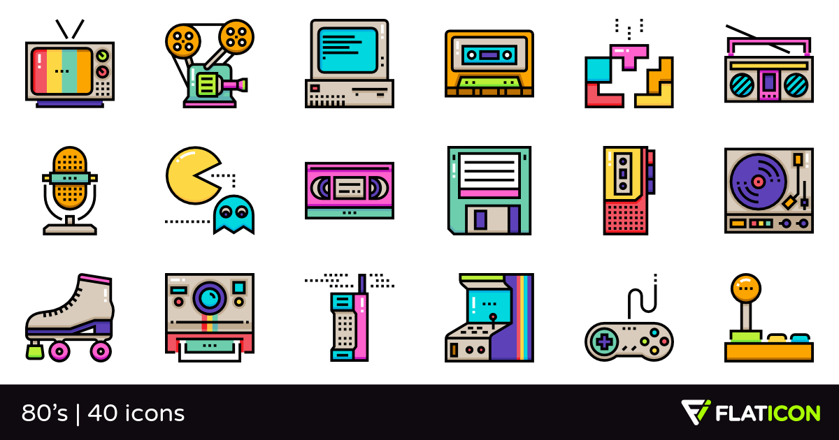 80's 40 premium icons (SVG, EPS, PSD, PNG files).