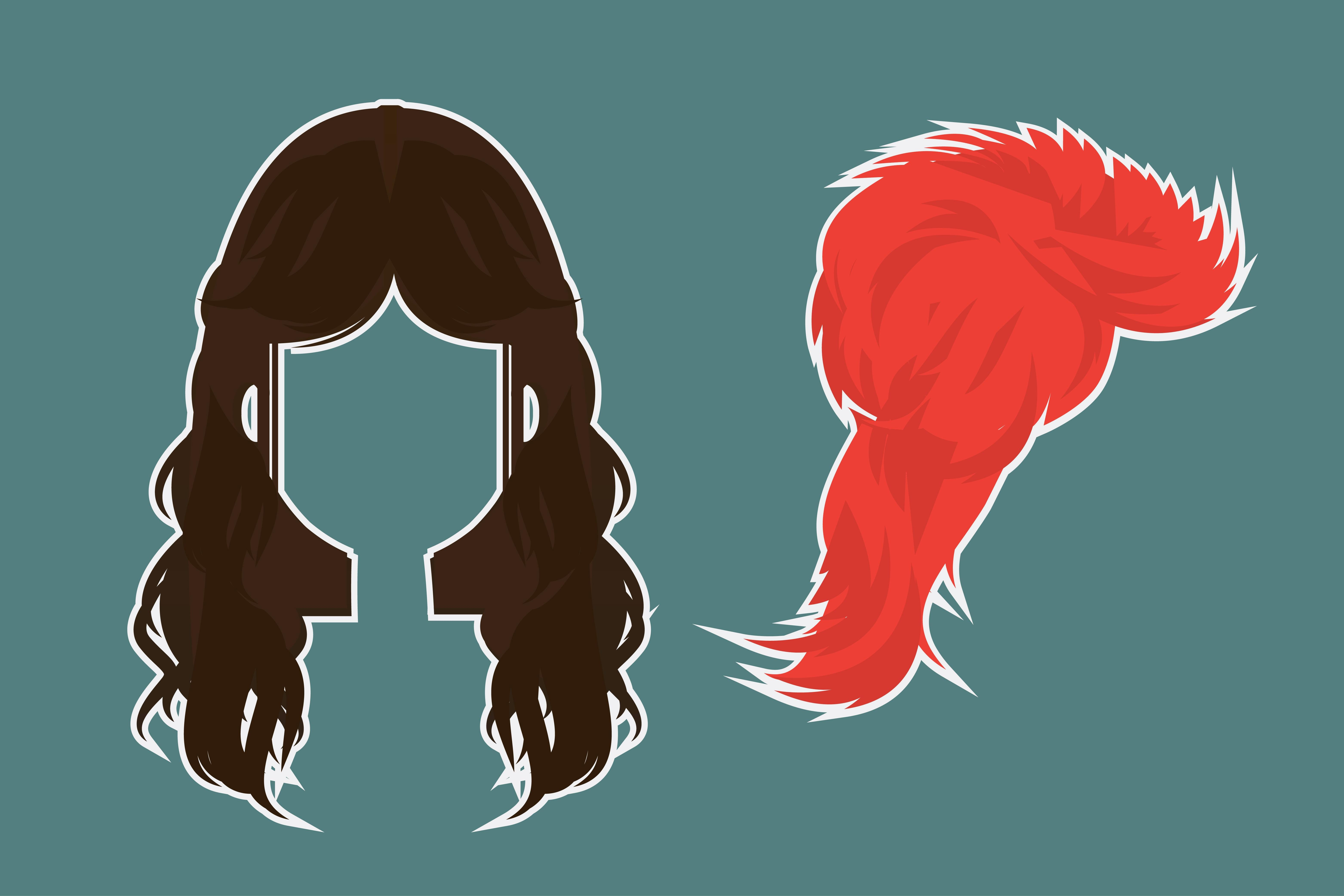 Illustrated evolution of rock n roll hairstyles +list+.