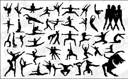 Vector silhouette dance afro 80s free vector download (5,993.