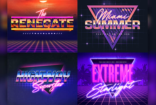 do 80s synthwave retro vintage style neon and chrome 3d logo.
