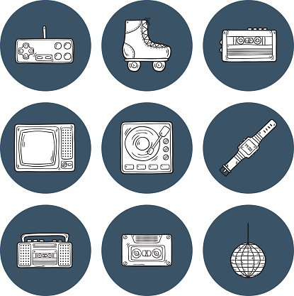 icons on retro 80s theme Clipart Image.