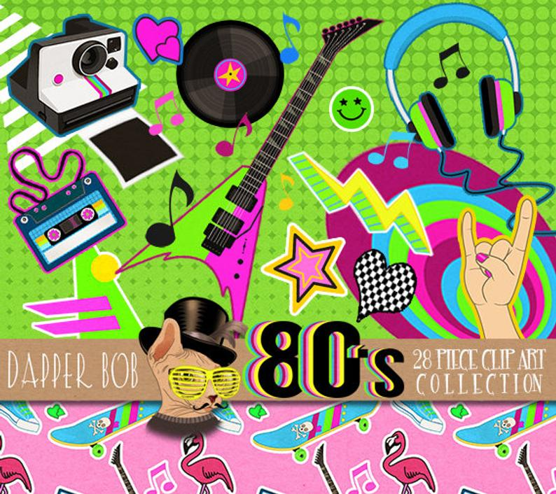 80's I Wanna Rock Clipart Collection.