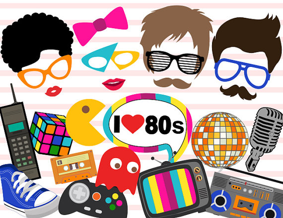 Printable 1980s Party Photo Booth Props, Retro 80's Party Photo.