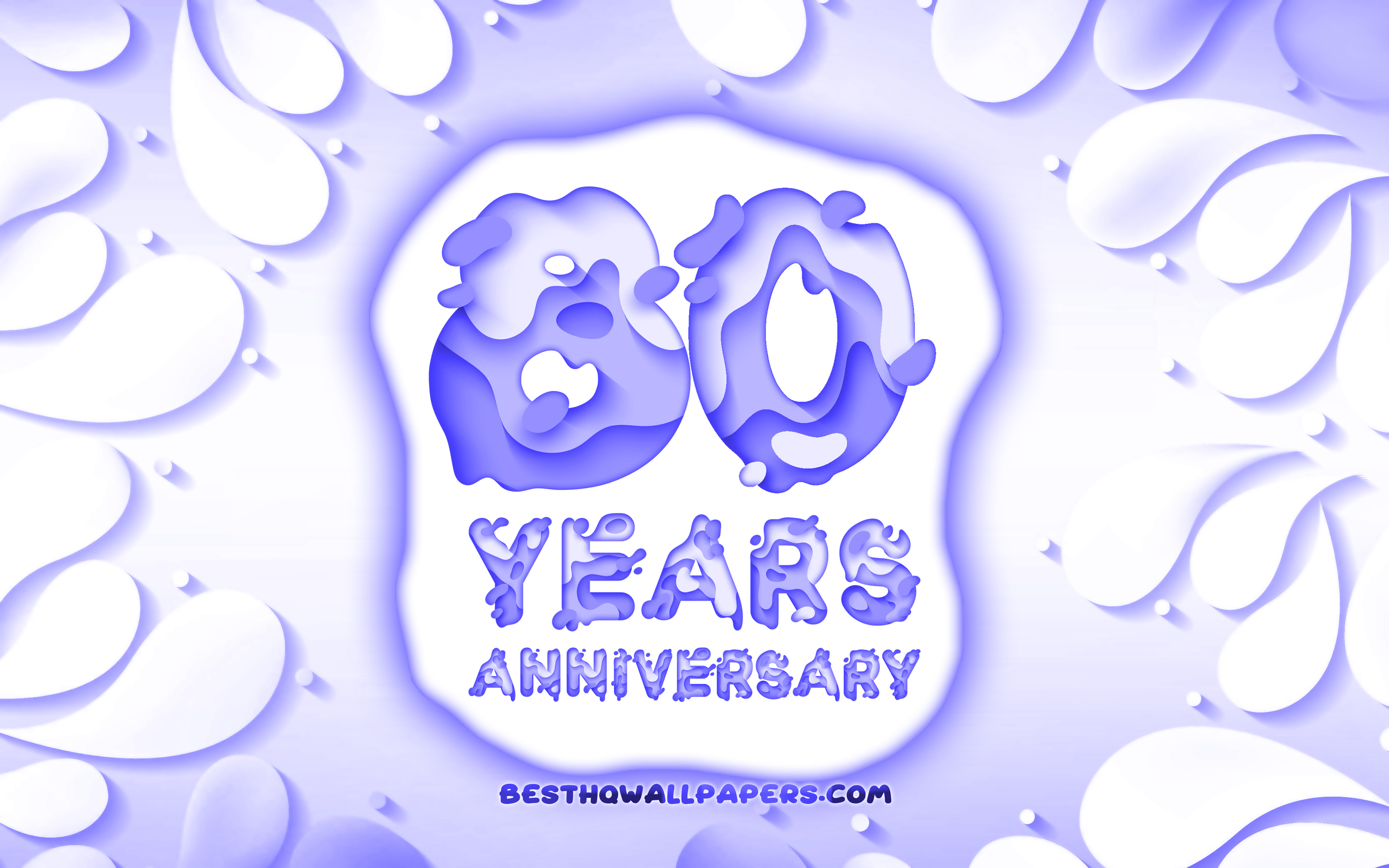 Download wallpapers 80th anniversary, 4k, 3D petals frame.