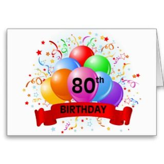 80th birthday celebration greeting card design with clouds.