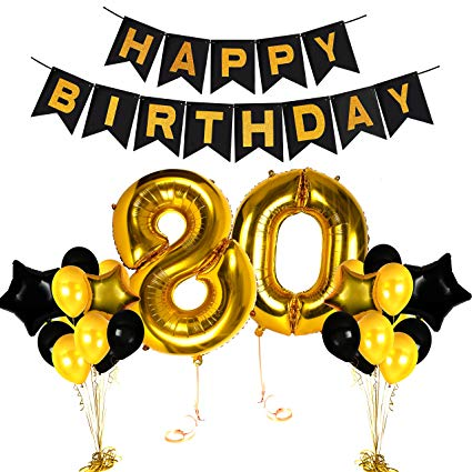 Happy 80th Birthday Gold Centerpieces Decorations Party Ideas Number  Supplies with Fabulous Balloon Banner Photo Booth Props Decor for Adults  and.