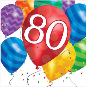 Details about Happy 80th Birthday (Age 80) Party Supplies BALLOON BLAST  LUNCH DINNER NAPKINS.