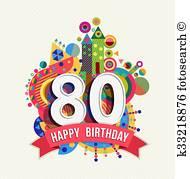 Sweetlooking 80th Birthday Clip Art Stylist Design Cake Royalty Free.