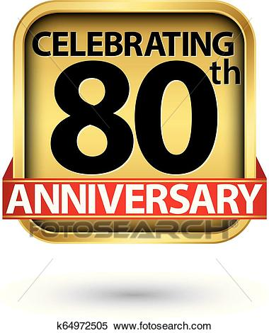Celebrating 80th years anniversary gold label, vector illustration Clipart.