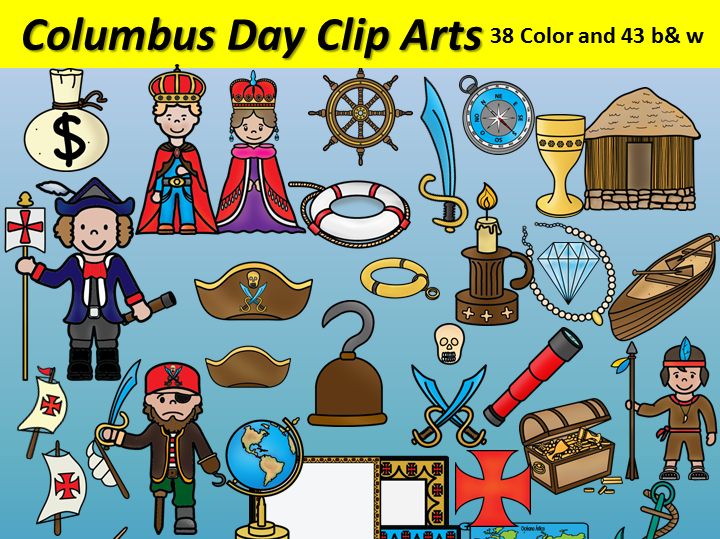 Columbus Day Clipart 81 images 38 Color and 43 b&w BilingualStars Clips.