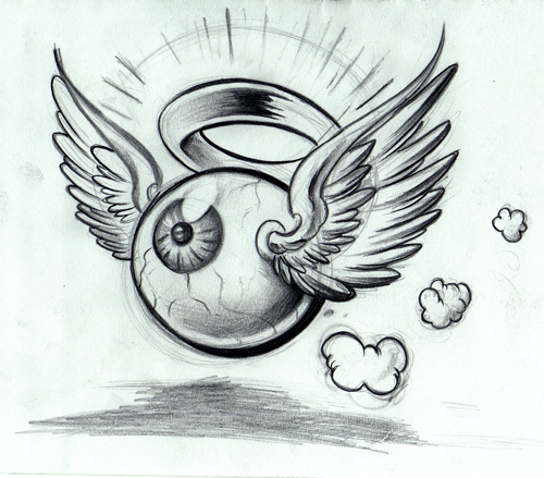 Winged eyeball tattoo lineart.