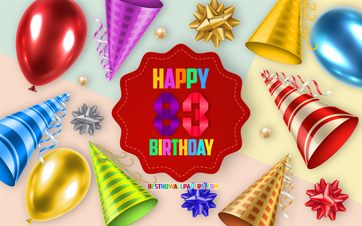 Download wallpapers Happy 83 Years Birthday, Greeting Card.