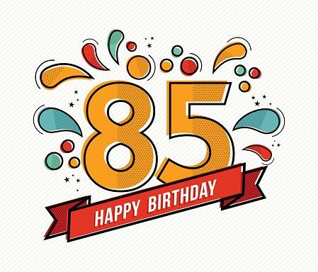 Colorful Happy Birthday Number 85 Flat Line Design premium.