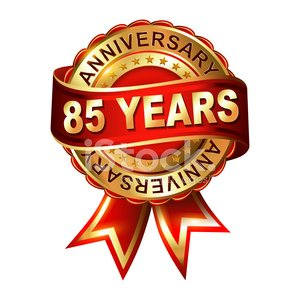 85 years anniversary golden label with ribbon. Clipart Image.