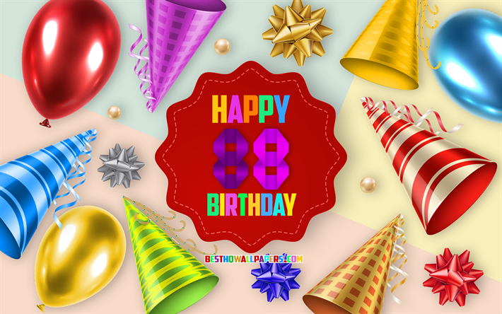 Download wallpapers Happy 88 Years Birthday, Greeting Card.