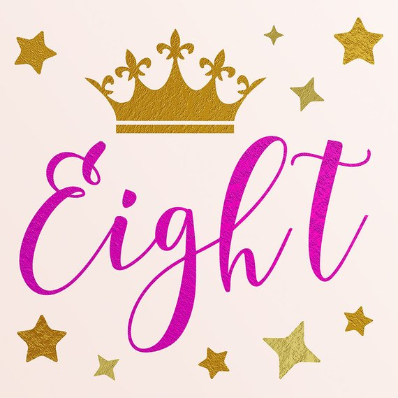 EIGHT, Birthday Clipart, 8th SVG, 8 Year Old, Gold And Pink.