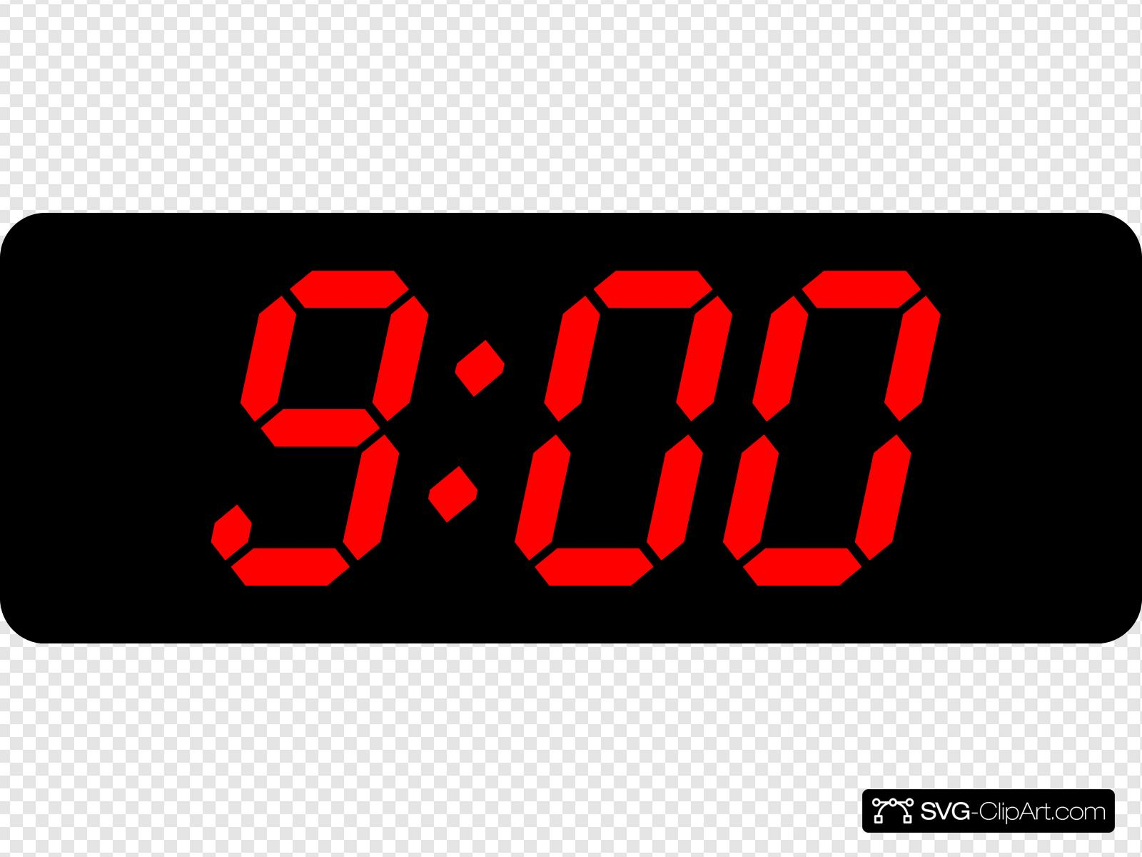 9:00 Black Red Clip art, Icon and SVG.