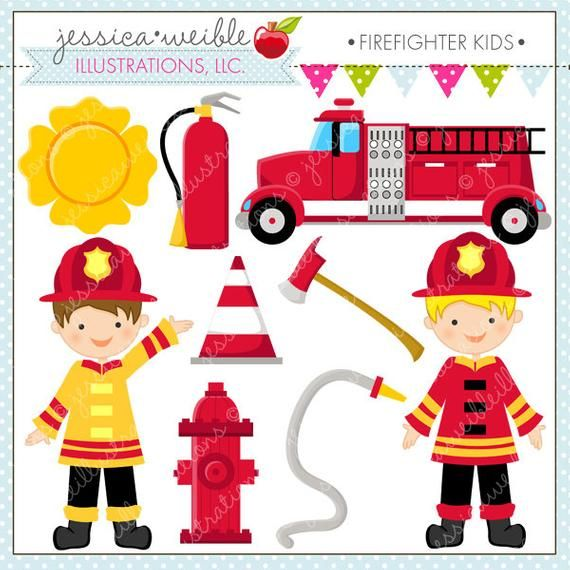 Firefighter Kids Cute clipart set comes with 9 cute graphics.