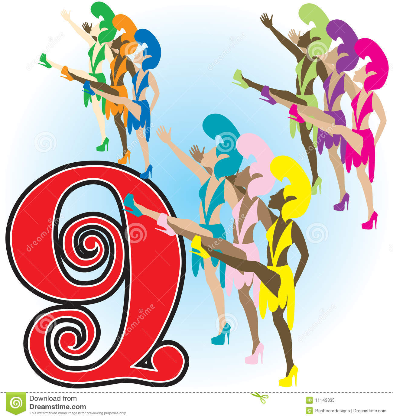 9 Ladies Dancing Clipart.
