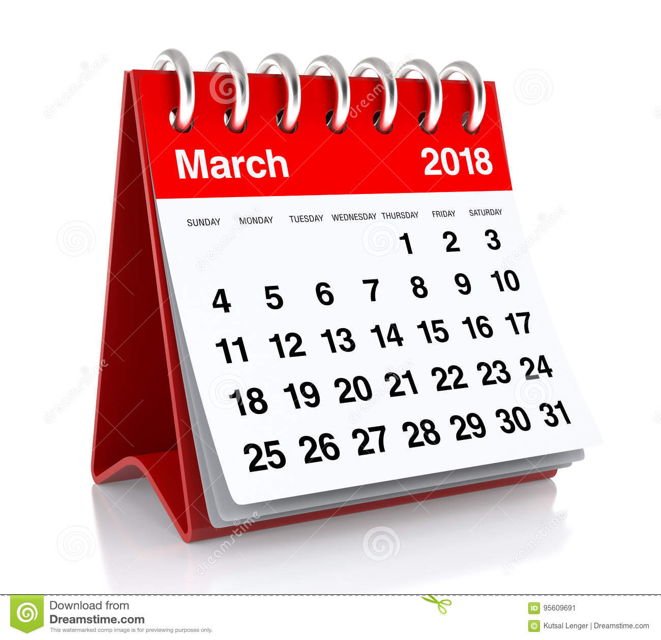 Calendar Clipart March 2018.