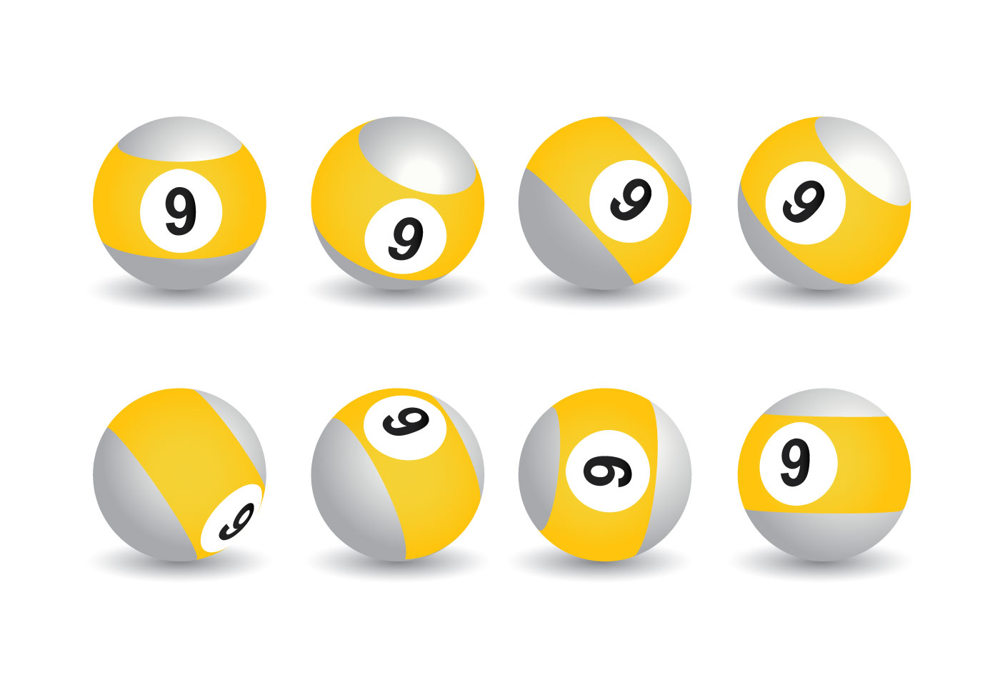9 Ball Pool Free Vector Art.