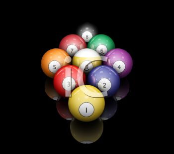 3D Pool Balls Set Up for 9 Ball.