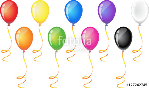 Colorful balloons festive with text bar template pennant set.