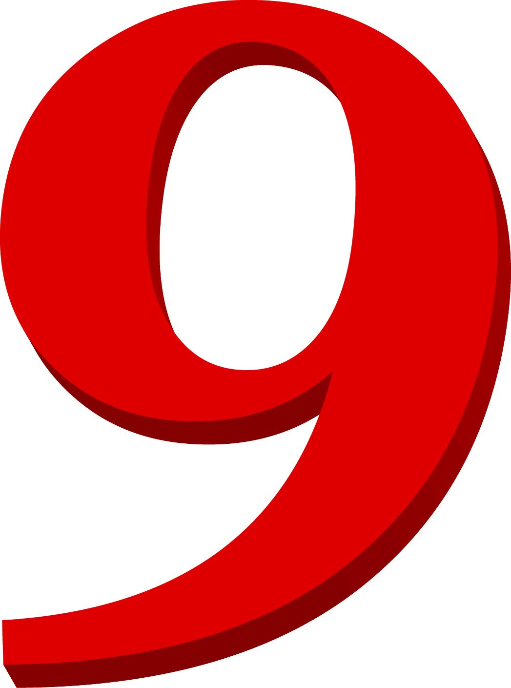 Orange Number 9 Clipart.