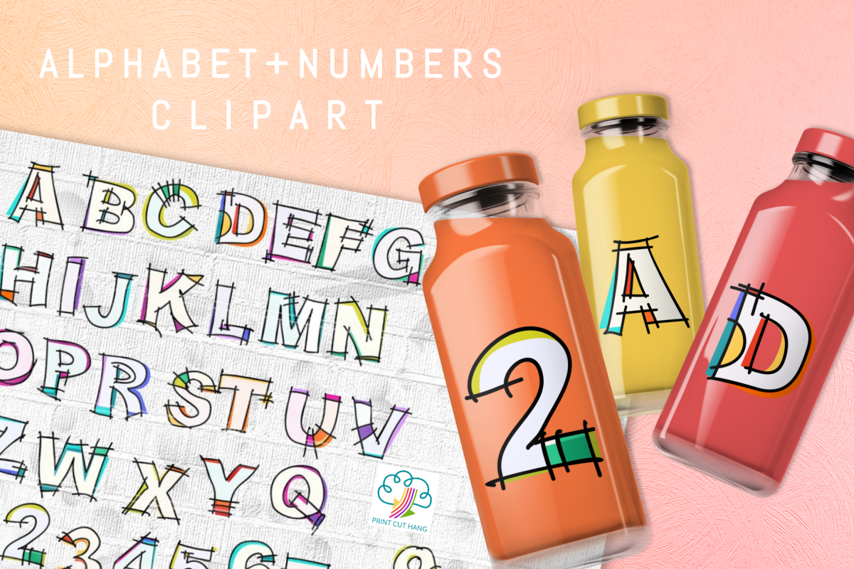 Hand Sketched Alphabet and Numbers 0 to 9 Clipart PNG Files.