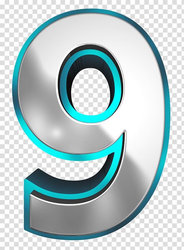 9 illustration, Number Metal Blue , Metallic and Blue Number.