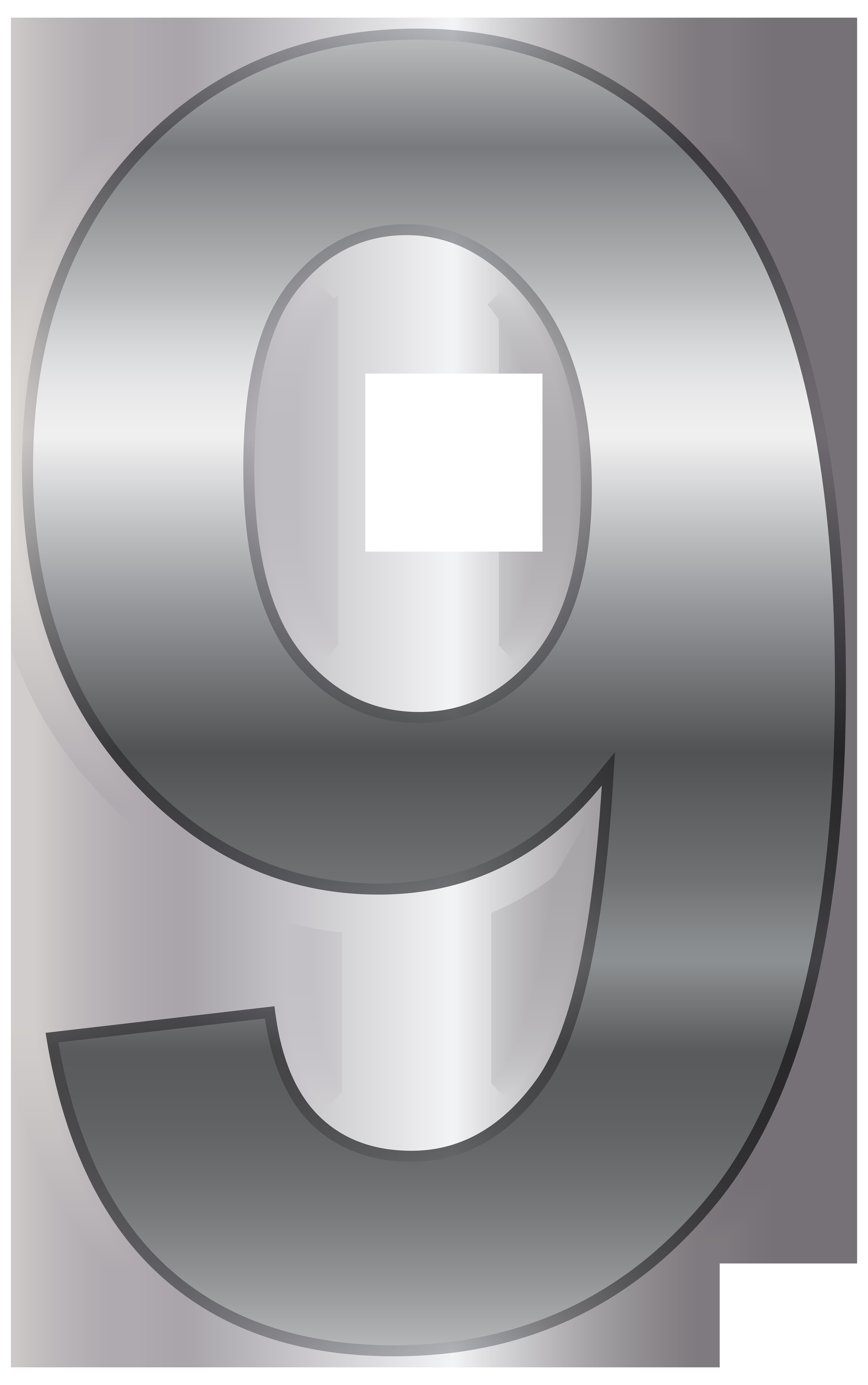 Silver Number Nine PNG Transparent Clip Art Image.
