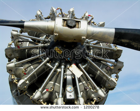 Pratt And Whitney Nine Cylinder Radial Engine Stock Photo 1200278.