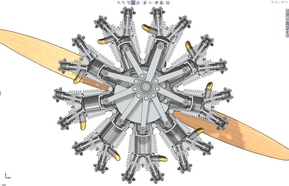Searched 3d models for radial engine zylinder.