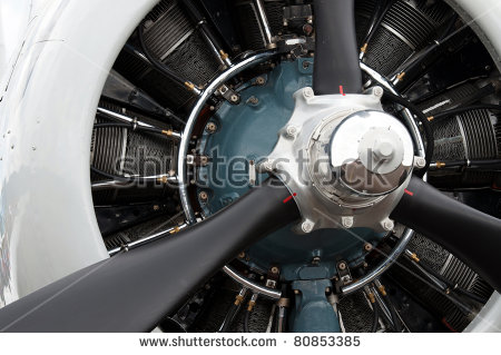 Detail 9 Cylinder Radial Engine Old Stock Photo 80853385.