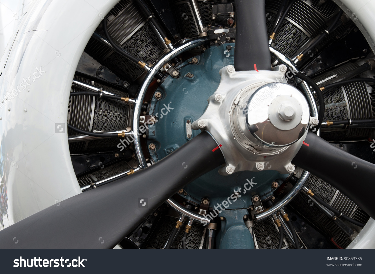 Detail Of 9 Cylinder Radial Engine Of Old Airplane Stock Photo.