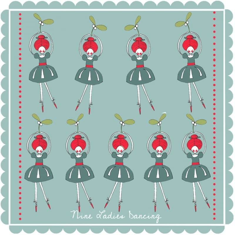 9 Ladies Dancing Illustration.