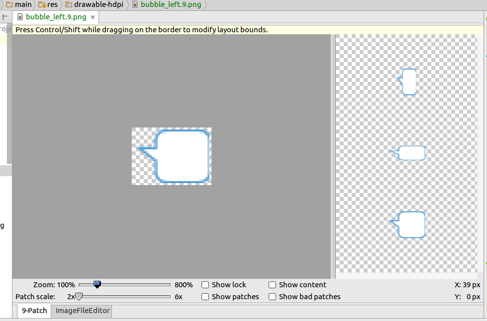 Creating 9 patch image in Android Studio.