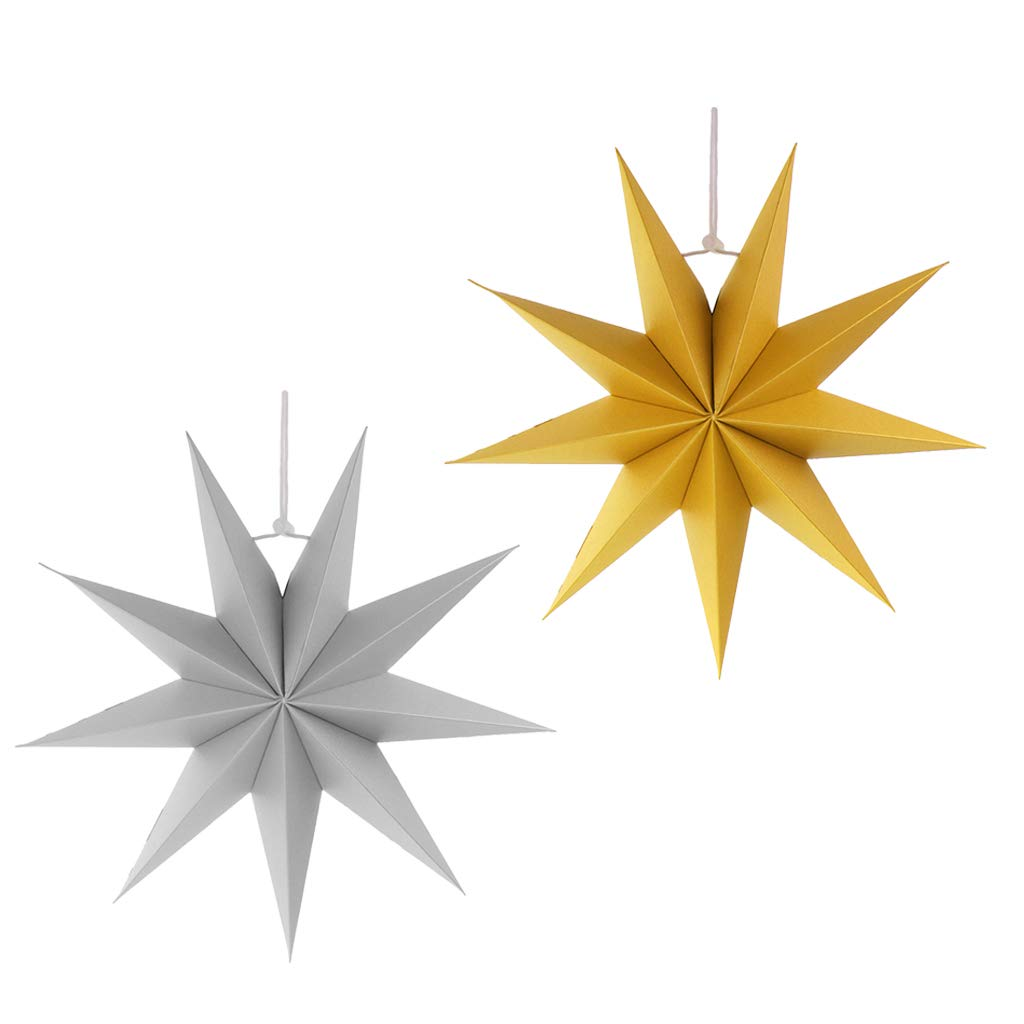 Buy Prettyia 2pcs 9 Point Paper Star Decorations Novelty 3D.