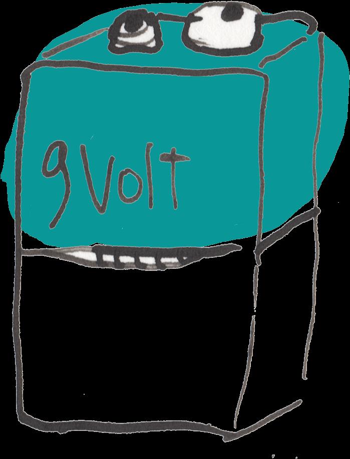 Rechargeable 9 Volt Battery Clipart.