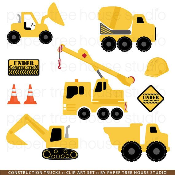 Construction Trucks Clip Art. Excavator Clipart. Dump Truck.