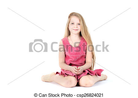 Stock Photo of adorable girl 9 year old on white background.