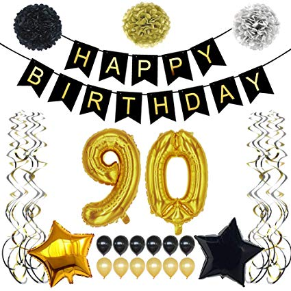 TYLANG 90th Birthday Decorations Party Supplies Gift for Men Women Adult,  Black and Gold Party Supplies Favors for 90 Years Old, Happy Birthday.