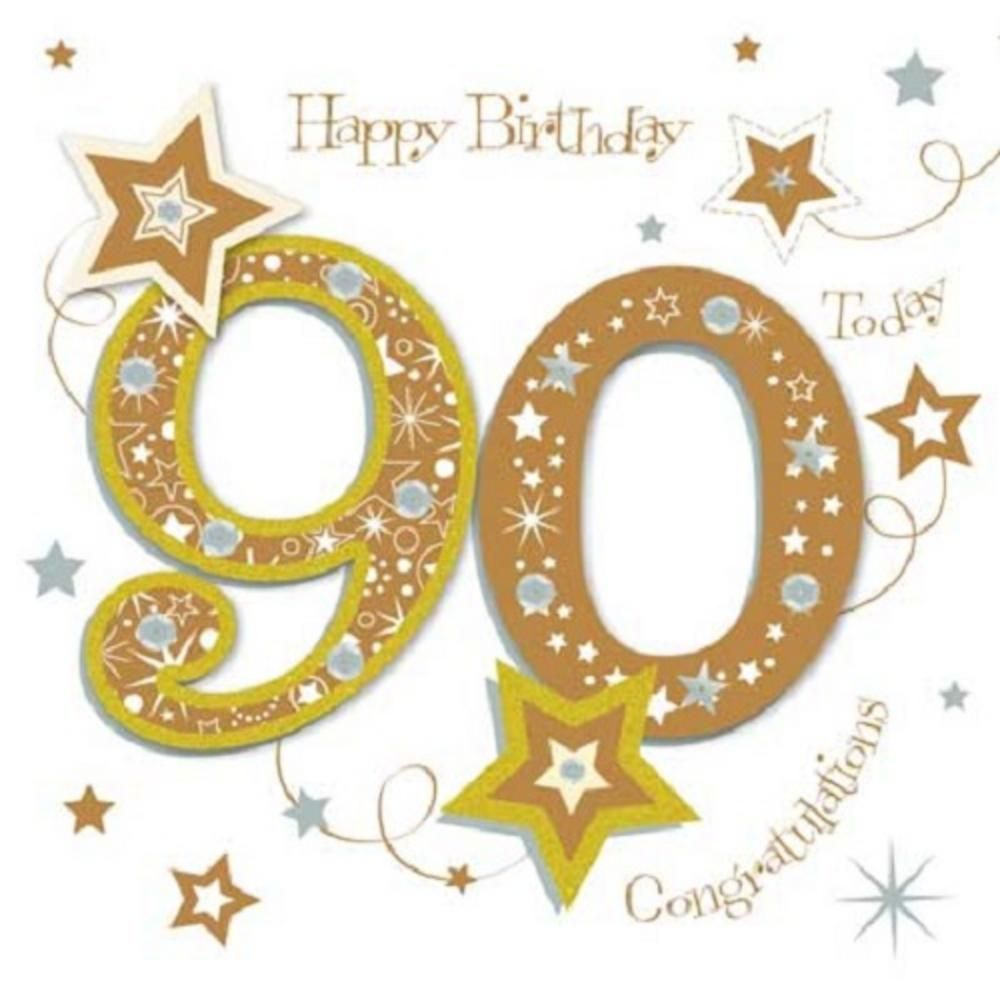 Happy 90th Birthday Greeting Card By Talking Pictures.