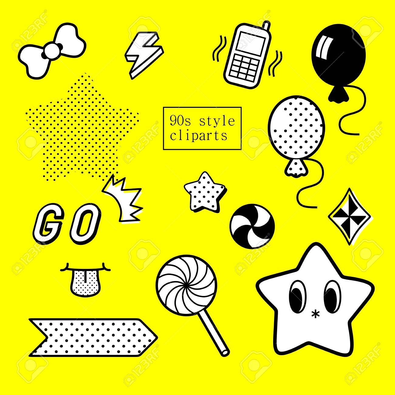 90's Design Inspired Decorative Clipart Set In Black And White.