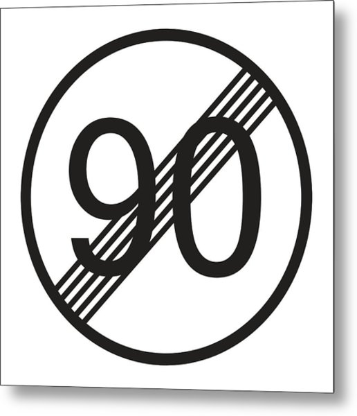 End Maximum Speed Limit 90 Sign Line Icon.